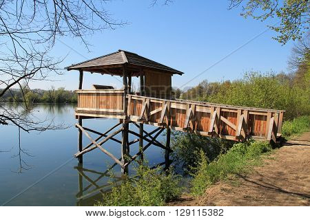 wooden shelter for birdwatching on the pond in Poodri, Czech Republic