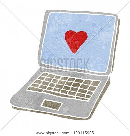 freehand retro cartoon laptop computer with heart symbol on screen