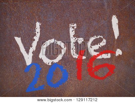 faded colors vote 2016 sign on a weathered rusty metal plate, 2D rendering