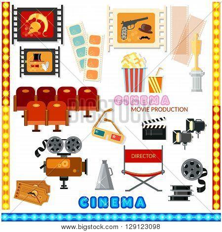 Cinema collection movie camera cinema sign cinematography movie set vector illustration