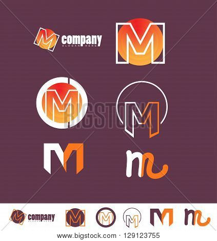 Corporate identity vector company logo icon element template alphabet letter m set