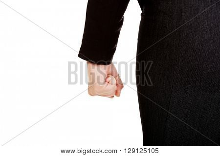 Back view of businessw woman clamped fist