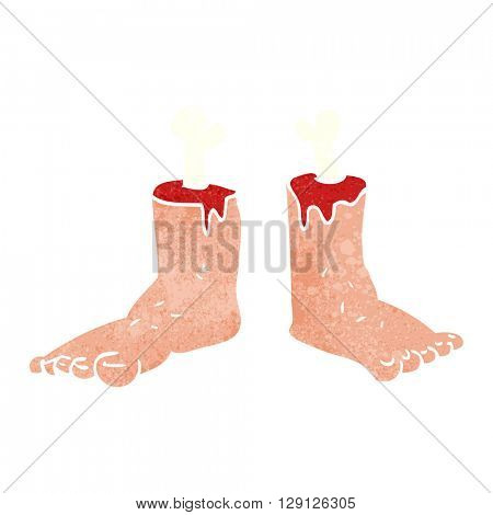 freehand retro cartoon gross severed feet