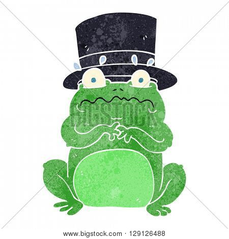 freehand retro cartoon wealthy toad