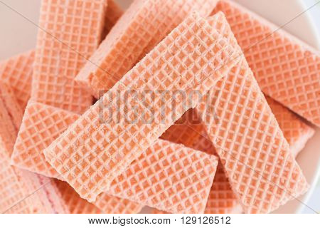 Pink wafers a cream filled wafer confection a favourite British tea time biscuit