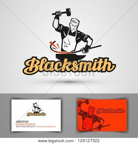 blacksmith vector logo. smithy or farrier, forge icon