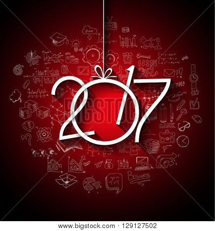 2017 New Year Infographic and Business Plan Background for your Flyers and Greetings Card.