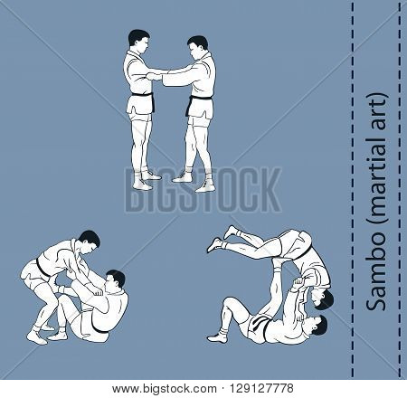 Illustration men demonstrate the fight of SAMBO