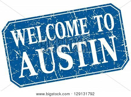 welcome to Austin blue square grunge stamp
