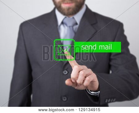technology, internet and networking concept. man in a black business shirt. woman presses send mail button on virtual screens.