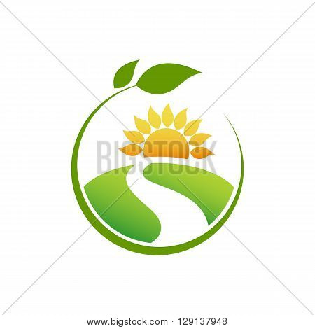 Healthy Food on landscape with sun and leaf isolated on the white background.