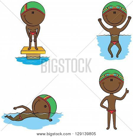 Cute vector African-American swimmer boys in different situations: in the pool swimming in the pool preparation for the start with a raised thumb