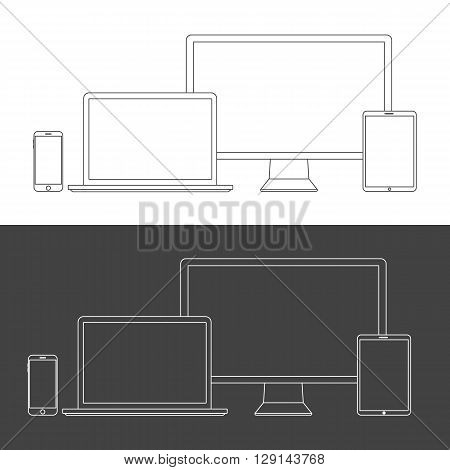 Electronic Devices Screens isolated on white background. Desktop computer laptop tablet and mobile phones with transparency.