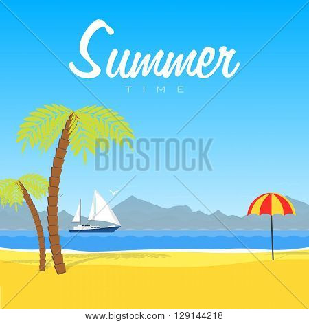 Vector illustration of the tropical. Summer time. Relax on the beach. Landscape of sea and mountains
