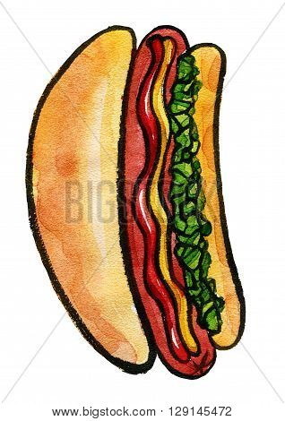Hand drawn watercolor illustration of hot dog with mustard, ketchup and green relish. Isolated on the white background, food drawing