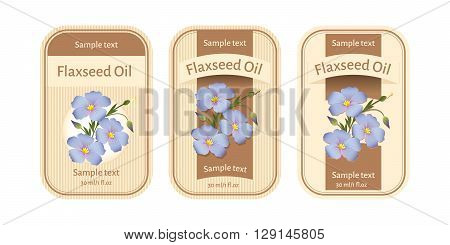 Set of three labels for flaxseed oil