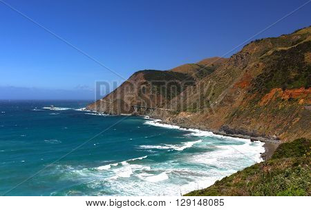 Scenic land and seascape along Hwy 1 in Califorinia's Big Sur region