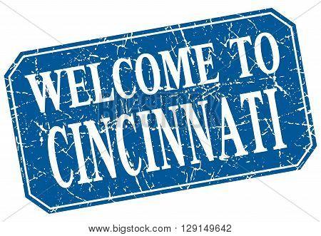 welcome to Cincinnati blue square grunge stamp