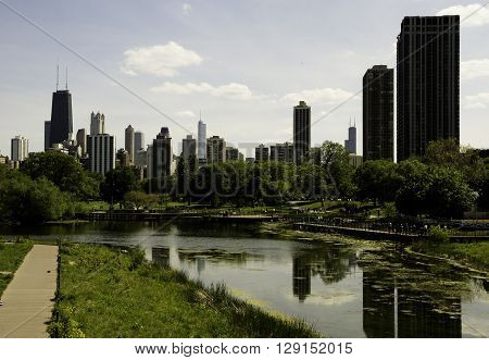 View of Chicago from Lincoln Park with Lush Landscape.