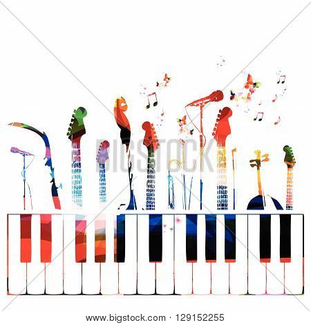 Colorful music instruments background with notes. Vector illustration
