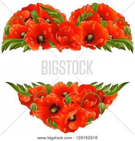 Vector poppy frame in the shape of heart