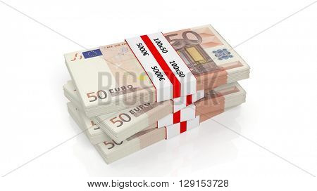 3D rendering of 50 Euros banknote bundles stack, isolated on white background.