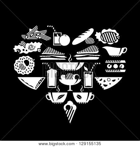 Foods and drinks in heart shape. White.