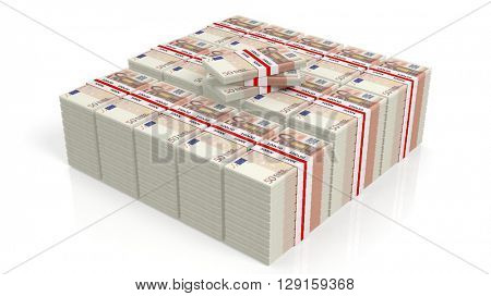 3D rendering of 50 Euros banknote bundles stacks, isolated on white background.