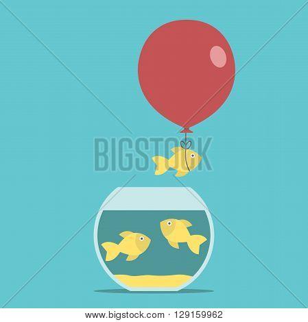 Gold Fish, Balloon, Fishbowl