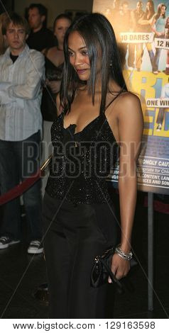 "Zoe Saldana at the World premiere of ""Dirty Deeds"" held at the DGA Theatre in Hollywood, USA on August 24, 2005."