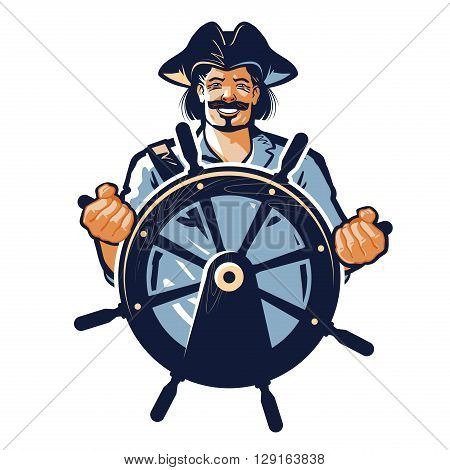 pirate vector logo. corsair or captain, sailor, seafarer icon