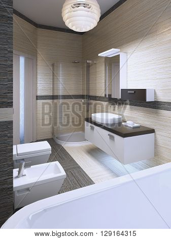 Impressive design of modern bath with using of striped ceramic tiles. 3D render