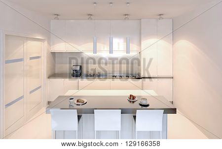 Bright kitchen with island bar contemporary style. White furniture with ecru decor. White walls and polished varnish concrete floor. 3D render