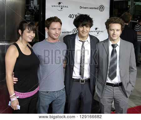 """Alanna Masterson, Chris Masterson, Jordan Masterson and Danny Masterson at the Los Angeles premiere of """"The 40 Year-Old Virgin"""" held at the ArcLight Theatre in Hollywood, USA on August 11, 2005."""