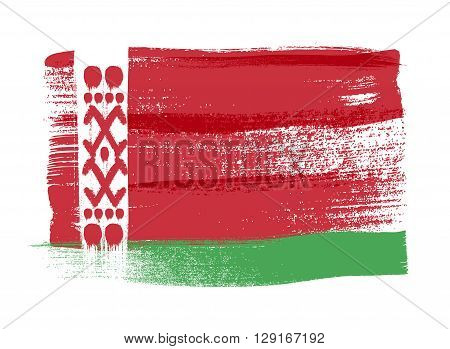 Belarus colorful brush strokes painted national country Belorussian flag icon. Painted texture.