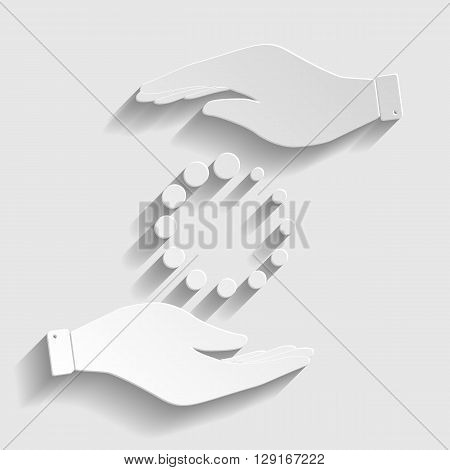 Circular loading sign. Save or protect symbol by hands. Paper style icon with shadow on gray.