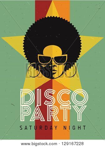 Disco party event flyer. Creative vintage poster. Vector retro style template. Black woman in sun glasses