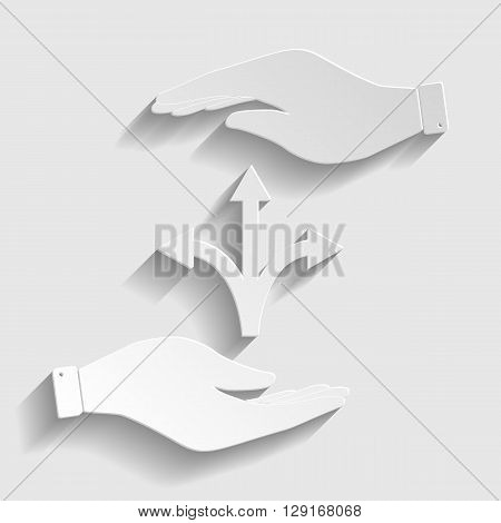 Three-way direction arrow sign. Save or protect symbol by hands. Paper style icon with shadow on gray.