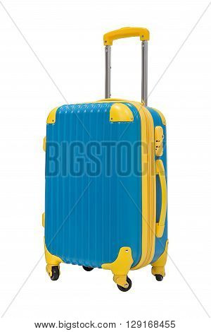 Travel suitcase in blue color isolate on white