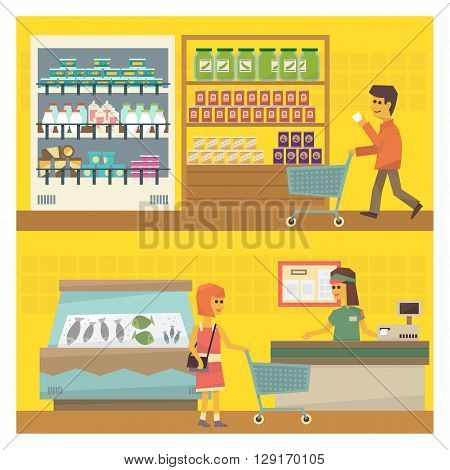 Grocery Shop Two Flat Vector Simple Design Illustrations One On Top Of Another