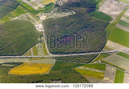 View Of Agricultural Landscape With Highway At Vienna