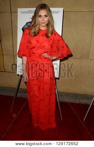 LOS ANGELES - MAR 22:  Elisabeth Olsen at the I Saw the Light LA Premiere at the Egyptian Theatre on March 22, 2016 in Los Angeles, CA