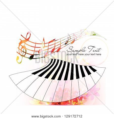 Vector illustration of colorful music notes with piano keyboard
