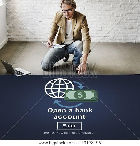 Open a Bank Account Banking Savings Financial Concept