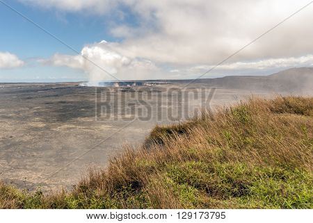 The crater of Mt. Kilauea inside the large caldera. Located in Volcanoes National Park Hawaii.
