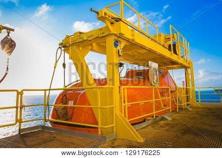 Life boat or survival craft at muster station of oil and gas drilling rig