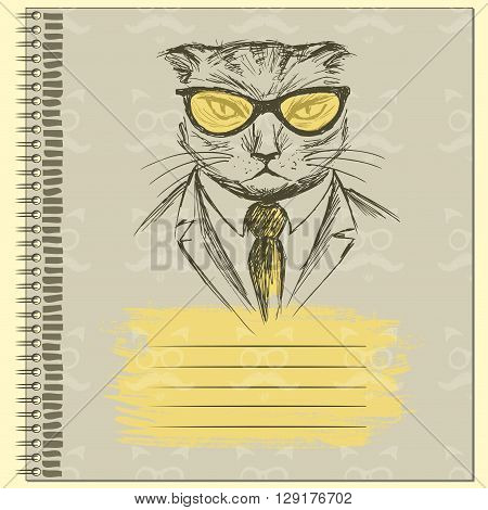 Hand Drawn Fashion Portrait of Cat Hipster on the cover of the notebook vector illustration