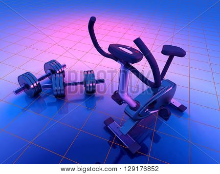 3d render of an exercise bike and dumbbells.