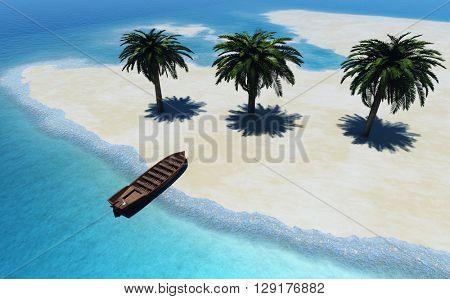 3d illustration of islands in the ocean.