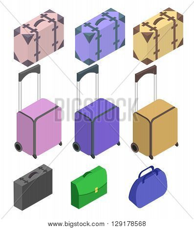 Travelers suitcases. Suitcase large polycarbonate suitcase. Travel plastic suitcase with wheels realistic. Flat 3d Vector isometric illustration.
